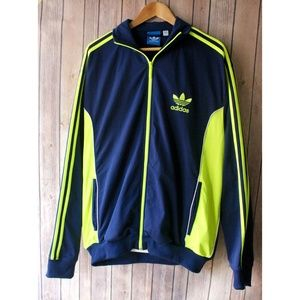 Adidas Blue and Neon Green Sports Jacket